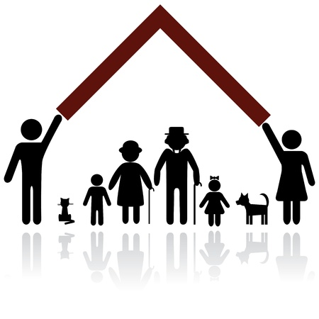 home safety: Protection people silhouette family icon. Person vector woman, man. Child, grandfather, grandmother, dog, cat. Home illustration.
