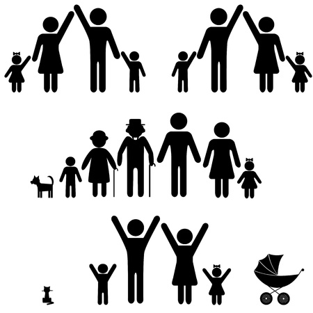 family with dog: People silhouette family icon. Person vector woman, man. Child, grandfather, grandmother, dog, cat, baby buggy, carriage. Generation illustration. Illustration