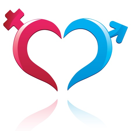 Icon male and female sign. Vector heart symbol. Valentine Day illustration.