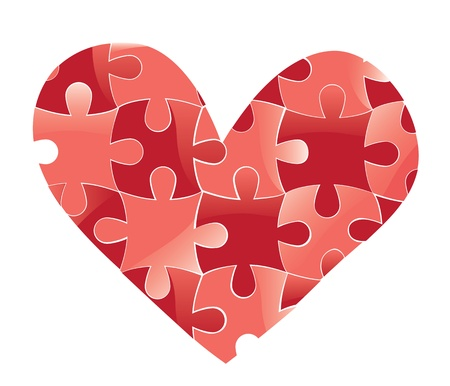 Heart puzzle. Love vector valentine romantic background. Design element. Vector
