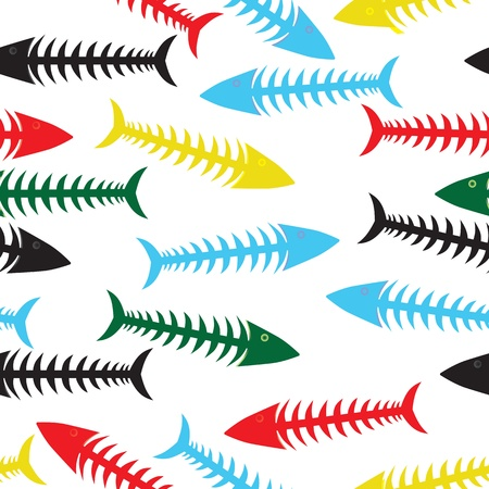 Fishbone background. Vector fish bone seamless illustration. Sea wallpaper Vector
