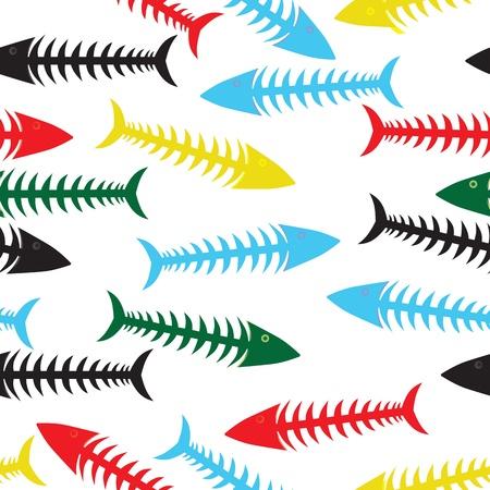 dead sea: Fishbone background. Vector fish bone seamless illustration. Sea wallpaper