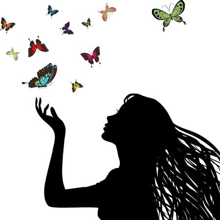 섹시한 벡터 여성의 실루엣 손. 예쁜 여자의 머리, 머리 프로필. 나비를 그리기. 여성 얼굴. 레트로 아트 벽지. 젊은 사람.