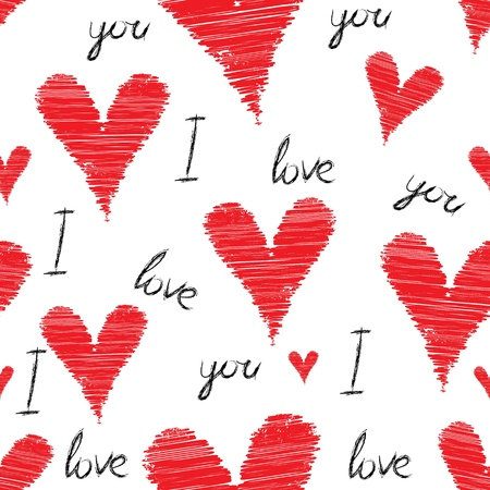 Scribble, stroke red vector heart background, seamless pencil illustration. Cute love pattern, Valentine Day Vector