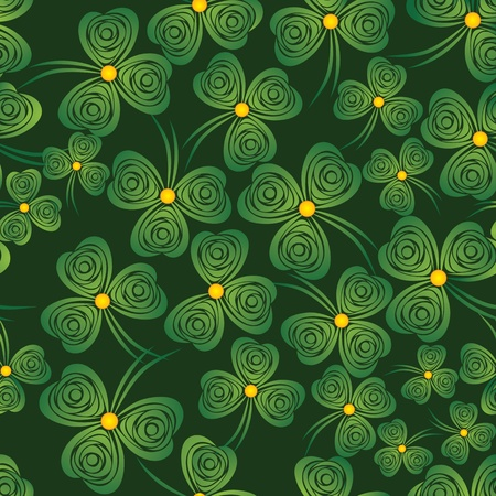 Seamless shamrock. Background clover vector. Green wallpaper. St. Patricks Day. Irish illustration. Vector