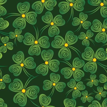 threeleaf: Seamless shamrock. Background clover vector. Green wallpaper. St. Patricks Day. Irish illustration.