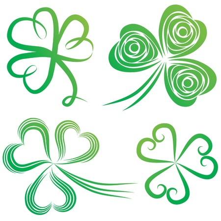 lucky clover: Set of green shamrock. Group of clover vector. St. Patricks Day. Irish illustration.