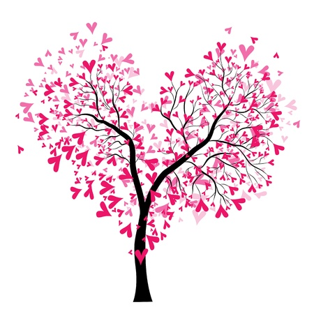 Abstract vector heart tree, Valentine Day. Love, wedding background Vector
