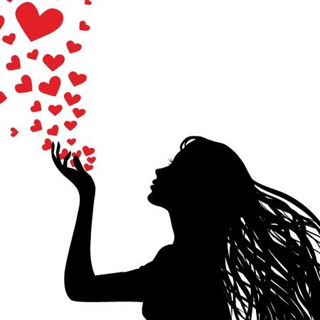 siluetas de enamorados: Mujer mano silueta. Niña bonita sopla corazón. Dibujo de fondo. ilustración.