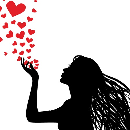 lips kiss: Woman silhouette hand. Pretty girl blowing heart. Drawing background. illustration.