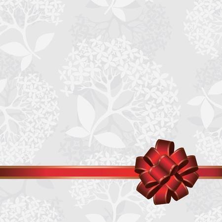 Seamless love bow card, valentine day, celebrate ribbon background, flower vector illustration Stock Vector - 12062898