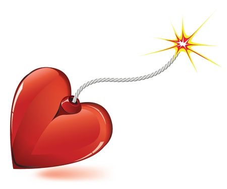 love dynamite: Heart love bomb spark fire icon . Valentine day passion illustration.