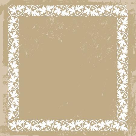 cartoline vittoriane: Vintage cornice pianta floreale su sfondo grunge con fiori e foglie, modello ricco, illustrazione vettoriale. Elemento per la progettazione Vettoriali