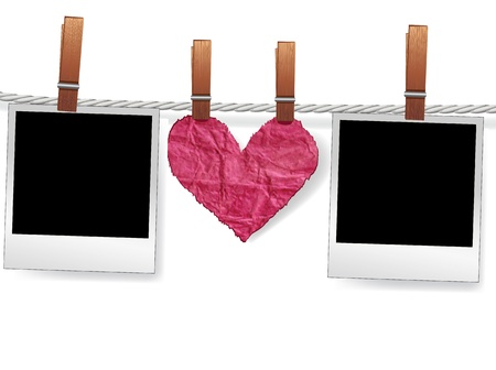 love photo: Love message by photo snapshot frames and heart on rope for scrap. Polaroid blank for picture of family album. Element for design.