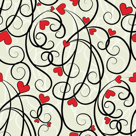Wave floral heart seamless background. Summer curl, swirl love ornament. Valentine pattern vector illustration. Vector