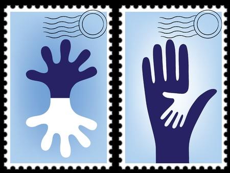 sello postal: Vector sello de correos, enviar la tarjeta. Puesto en blanco. Postal. Correo transfronterizo, marco de postal. Mano imagen.