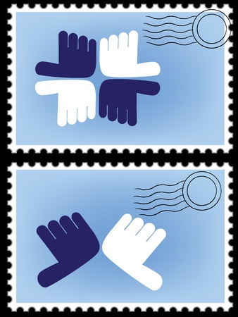 Vector stamp. Postage, post, card, postcard. mail border, postal frame. Abstract image, hand icon. Vector