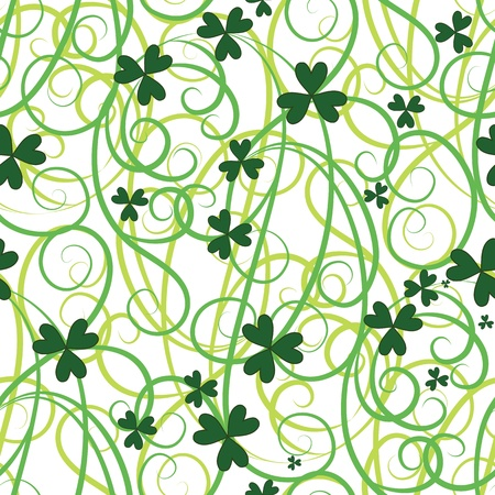 shamrock seamless: Seamless flower shamrock leaves. Background clover vector. Green wallpaper. St. Patrick Illustration
