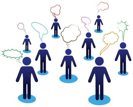 chat balloon: Business team chat, people dialog, web icon. Vector diagram, network communication. Idea illustration. Illustration