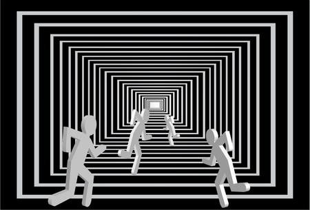 tunnel light: Running competition person vector. Business direction in square corridor. Light at the end of tunnel. Abstract illustration