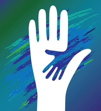 apoyo familiar: Mano vector del ni�o en la ayuda del Padre aliento. Apoyo moral.