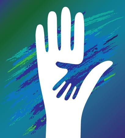 community people: Vettore mano del bambino in aiuto il padre incoraggiamento. Sostegno morale.