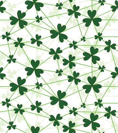 fortune flower: Seamless flower shamrock leaves. Background clover vector. Green wallpaper. St. Patrick Illustration