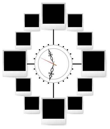 Marco de fotos instant�neas en el reloj de la chatarra de vector. En blanco para la imagen del �lbum de familia. Elemento para el dise�o. Tiempo de collage. Foto de archivo - 12274346