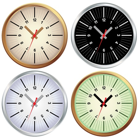 Set of metal clock. Vector office time illustration. Element for design isolated on white background. Vector