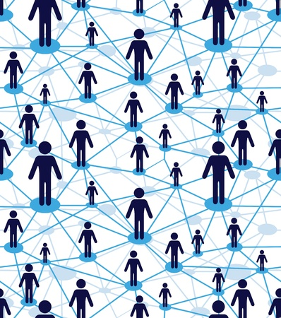 blue network: Business team, people icon web. Vector diagram, network communication. Partnership, employee. Relation concept wallpaper. Crowd seamless background.