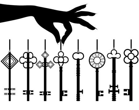 dangle: Mano silhouette femminile tenere set di chiavi per un vettore auto o un appartamento o ufficio isolato su sfondo bianco Vettoriali