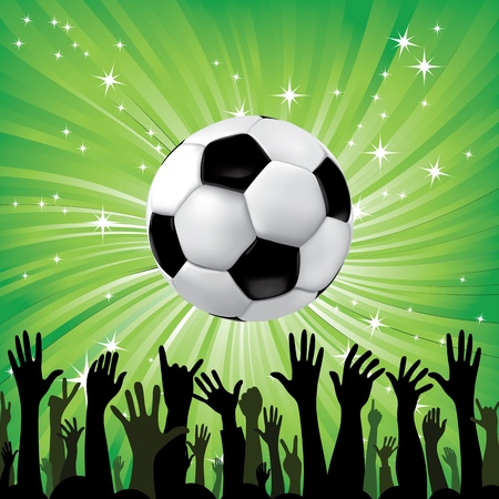 jugadores de soccer: Bal�n de f�tbol para el deporte de f�tbol con las manos de fans siluetas de elementos para el dise�o de ilustraci�n vectorial Vectores