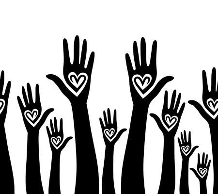 emelt: Emberek támogatják kéz, mint a szív egyesült, seamless, háttér, vektor, horizontális mintázat illusztráció