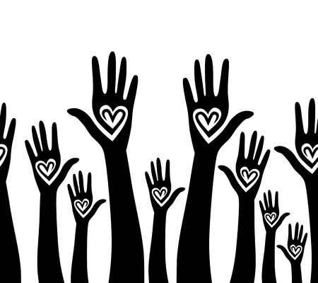 hands raised: People support hand like heart united seamless background  Vector horizontal pattern illustration