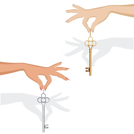 dangle: Set of silhouette female hand hold metal key for an auto or apartment or office  Vector illustration isolated on white  background