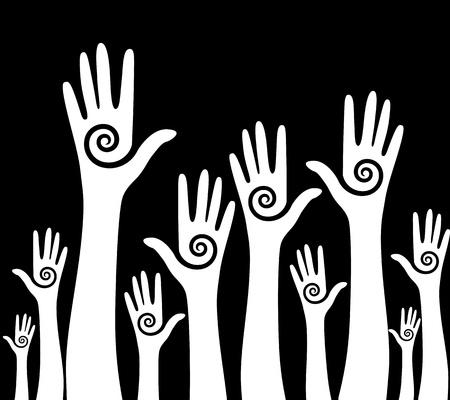 solidaridad: Las manos del equipo de votación Elemento Resumen de vectores de fondo el símbolo de reciclaje para el diseño