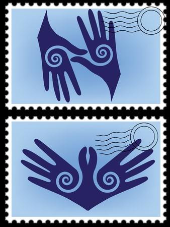 infinito simbolo: Icon Postcard eternit� posta logo di frontiera mano come uccello, l'infinito astratto vettore elemento di sfondo Recycle simbolo per la progettazione