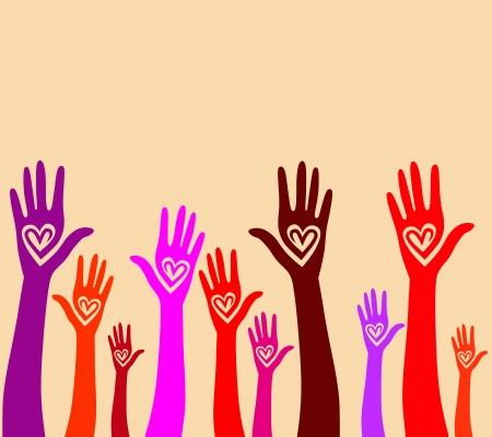 solidaridad: La gente apoya la mano como el corazón de la ilustración unidos de fondo sin fisuras patrón de Vector