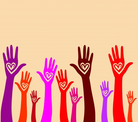 solidarity: People support hand like heart united seamless background  Vector pattern illustration