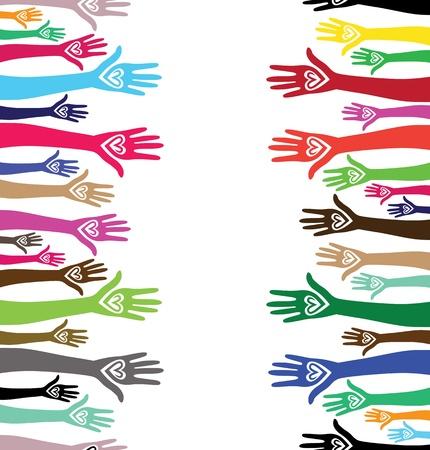 emelt: Emberek támogatják kéz, mint a szív egyesült, seamless, háttér, vektor, függőleges minta illusztráció