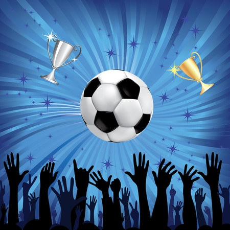 soccerball: Soccer ball and champion cup for football sport with fan hands silhouettes  Vector illustration  Element for design
