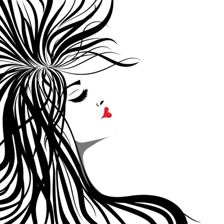 Woman silhouette lip shaped in heart. Girl with long hair on white background. Vector tatoo illustration Vector