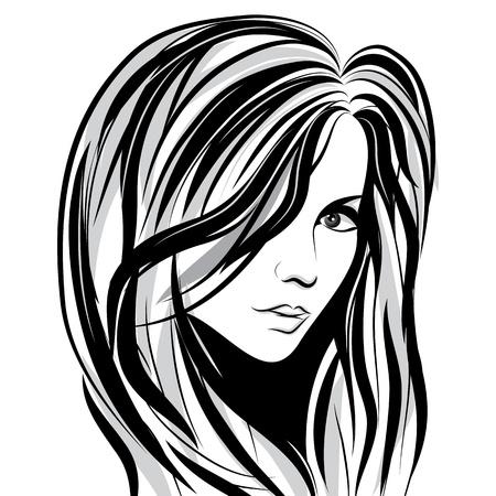 pelo ondulado: Chica de belleza facial dibujo, rostro de mujer vector de la onda del pelo retrato Vectores