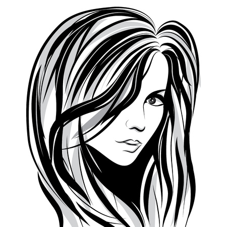 tatouage visage: Esquisse le visage Beaut� fille, le visage vecteur femme cheveux vague portrait Illustration