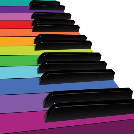 clavier: Piano musical background, piano keys spectrum  Vector illustration
