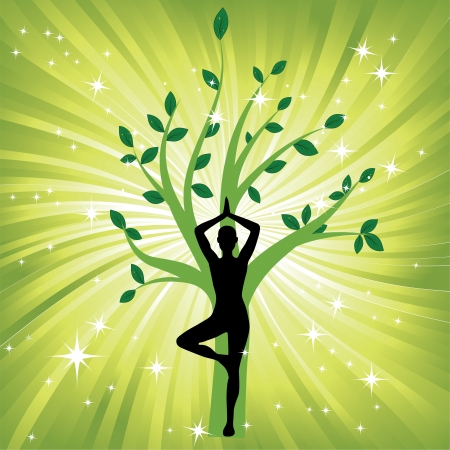 yoga asana tree pose: Woman in yoga tree asana sport on wave background  Man silhouette pose in front of leaves  Energy medicine vector illustration  Element for design