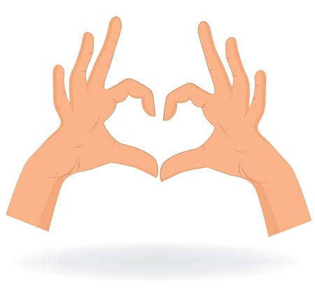 Hand like heart shape isolated on white background  Vector love pattern illustration   Vector
