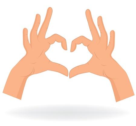 bondad: Mano como forma de corazón aislado en fondo blanco Vector encanta la ilustración patrón Vectores