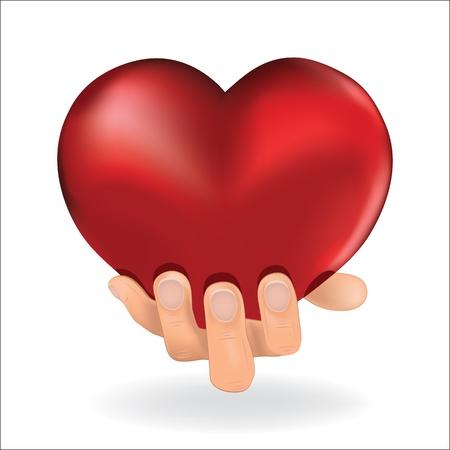 男は女性の白い背景ベクトル イラストに愛赤いハートを手に保持します。