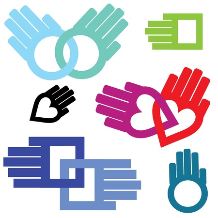 Hand set of connection help shaped in heart, circle, square chain  Support in love  Vector illustration